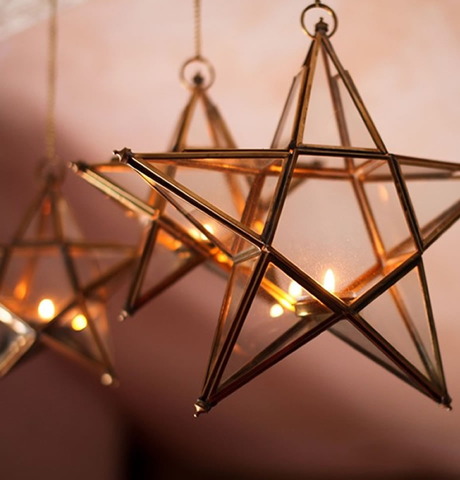 Nkuku Antique Brass Glass Star AS0201