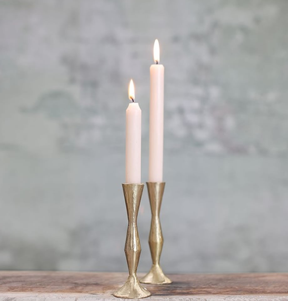 Nkuku Jahi Brass Candlestick Tall Brushed Gold JC0301