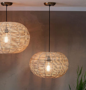 Noko Wicker Round Pendant Light Natural - Two Sizes Available