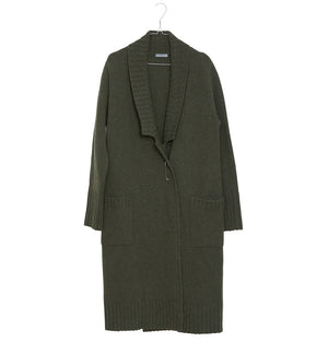 Wool Long Cardigan Olive