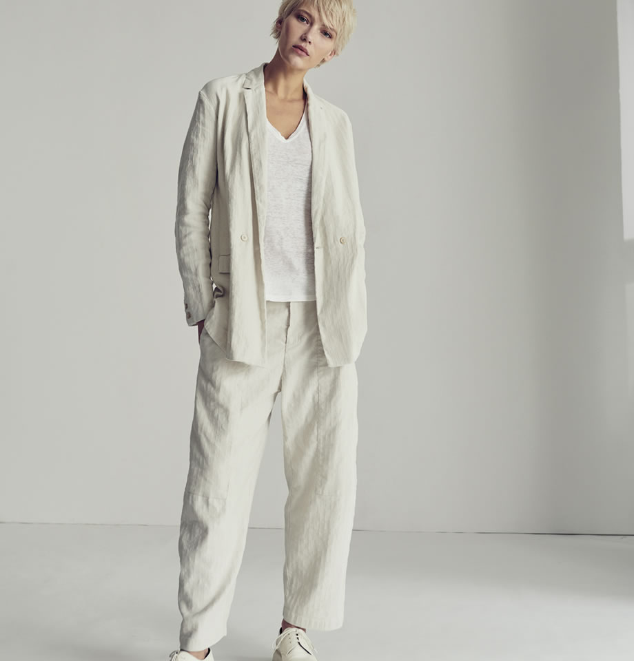 Cotton and Linen Mix Jacket - Chalk
