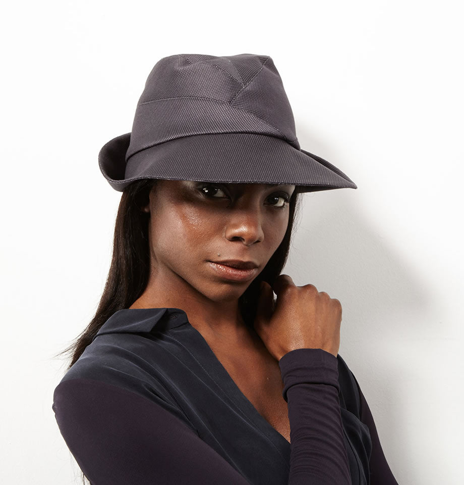 Karen Henrikson Crawford Fedora Hat In Pinstripe Cotton