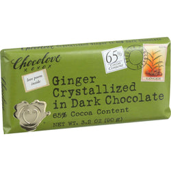 Chocolove Xoxox Premium Chocolate Bar - Dark Chocolate - Ginger Crystallized - 3.2 Oz Bars - Case Of 12