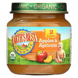 Earth's Best Organic Apples And Apricots Baby Food - Stage 2 - Case Of 12 - 4 Oz.