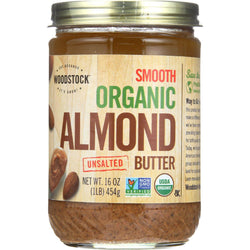 Woodstock Nut Butter - Organic - Almond - Smooth - Unsalted - 16 Oz - Case Of 12
