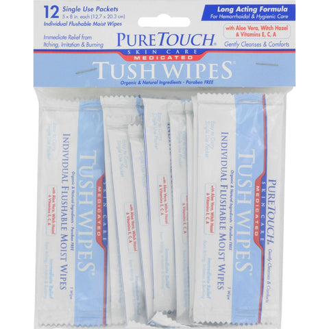 Puretouch Skin Care Medicated Tush Wipes - 12 Packets