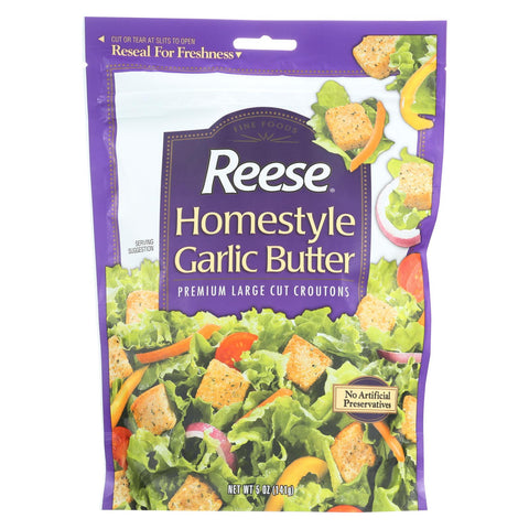 Reese Croutons Homestyle Garlic Butter - - Case Of 12 - 5 Oz.
