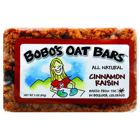 Bobo's Oat Bars - All Natural - Cinnamon Raisin - 3 Oz Bars - Case Of 12