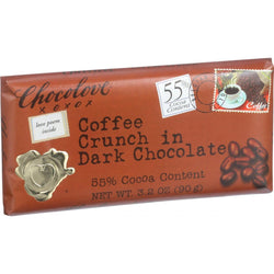 Chocolove Xoxox Premium Chocolate Bar - Dark Chocolate - Coffee Crunch - 3.2 Oz Bars - Case Of 12