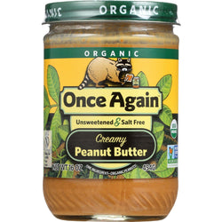 Once Again Peanut Butter - Organic - Creamy - No Salt - 16 Oz - Case Of 12