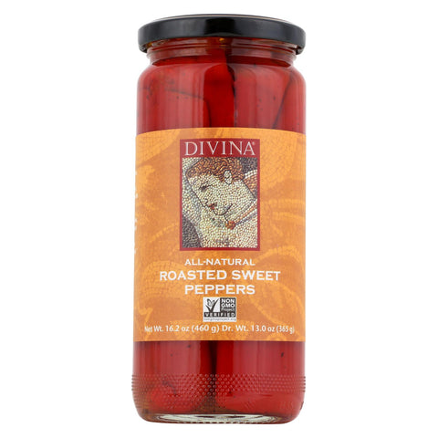 Divina Roasted Sweet Red Peppers - Case Of 6 - 13 Oz.