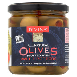 Divina Olives Stuffed With Sweet Peppers - Case Of 6 - 7.8 Oz.