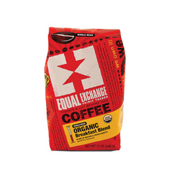 Equal Exchange Organic Whole Bean Coffee - Breakfast Blend - Case Of 6 - 12 Oz.