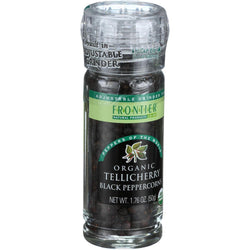 Frontier Herb Peppercorns - Organic - Whole - Black - Tellicherry Grade - Grinder Bottle - 1.76 Oz - Case Of 6