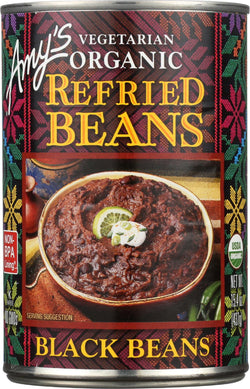 Amy's Organic Refried Black Beans - Case Of 12 - 15.4 Oz.