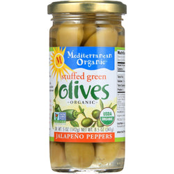 Mediterranean Organic Olives - Organic - Green - Stuffed - Jalapeno - 8.5 Oz - Case Of 12