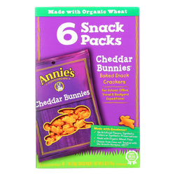 Annie's Homegrown Cheddar Bunnies Baked Snack Crackers - Case Of 6 - 1 Oz.
