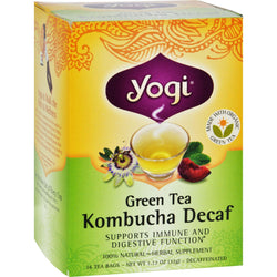 Yogi Herbal Green Tea Caffeine Free Kombucha - 16 Tea Bags - Case Of 6