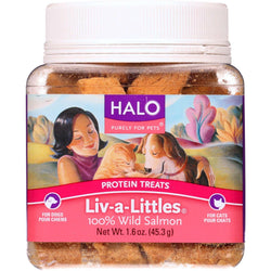 Halo Purely For Pets Protein Treats - Liv-a-little - Salmon - 1.6 Oz - Case Of 12