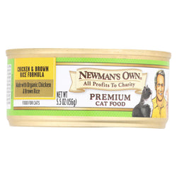 Newman's Own Organics Premium Cat Food - Chicken And Brown Rice - Case Of 24 - 5.5 Oz.