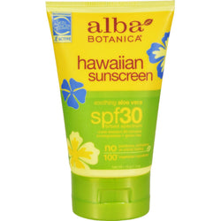 Alba Botanica Hawaiian Aloe Vera Natural Sunblock Spf 30 - 4 Fl Oz