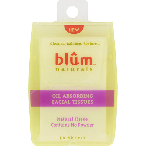 Blum Naturals Oil Absorbing Facial Tissues - 50 Sheets - Case Of 6