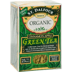 St Dalfour Organic Green Tea Cinnamon Apple - 25 Tea Bags - Case Of 6