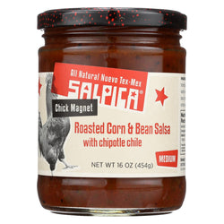Salpica Chipotle Chile Salsa - Roasted Corn And Bean - Case Of 6 - 16 Oz.
