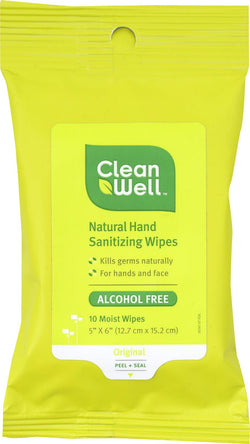 Cleanwell Hand Sanitizing Wipes - Travel Size - 10 Count - Case Of 8