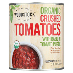 Woodstock Organic Crushed Tomatoes With Basil - Case Of 12 - 28 Oz.