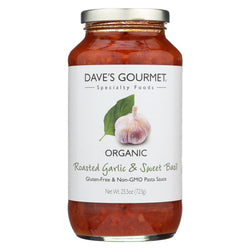 Dave's Gourmet Organic Roasted Garlic And Sweet Basil Pasta Sauce - Case Of 6 - 25.5 Fl Oz.