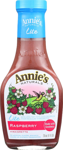 Annie's Naturals Lite Vinaigrette Raspberry - Case Of 6 - 8 Fl Oz.