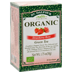 St Dalfour Organic Green Tea - Strawberry Rose - 25 Tea Bags