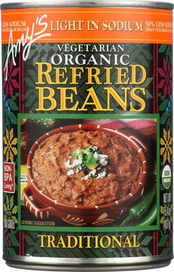 Amy's Organic Light In Sodium Traditional Refried Beans - Case Of 12 - 15.4 Oz.