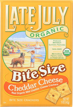 Late July Snacks Organic Bite Size Crackers - Cheddar Cheese - Case Of 12 - 5 Oz.