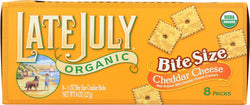 Late July Snacks Organic Bite Size Crackers - Cheddar Cheese - Case Of 4 - 1 Oz.