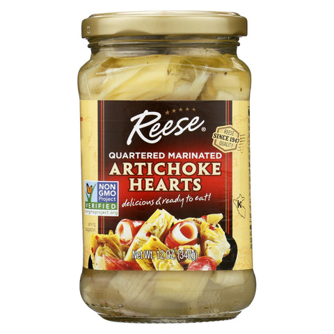 Reese Marinated Artichoke Hearts - Quartered - Case Of 12 - 12 Oz.