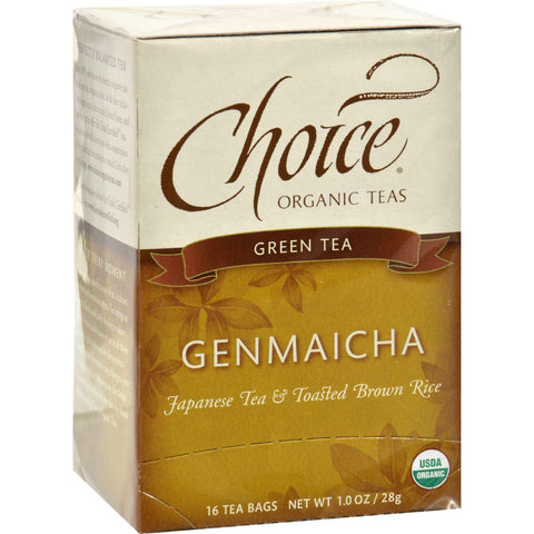 Choice Organic Teas Green Tea With Toasted Brown Rice - 16 Tea Bags - Case Of 6