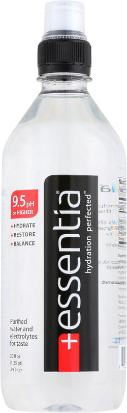 Essentia Hydration Perfected Drinking Water - 9.5 Ph. - Case Of 24 - 20 Oz.