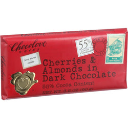 Chocolove Xoxox Premium Chocolate Bar - Dark Chocolate - Cherries And Almonds - 3.2 Oz Bars - Case Of 12