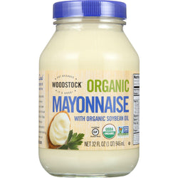 Woodstock Mayonnaise - Organic - With Organic Soybean Oil - Jar - 32 Oz - Case Of 12