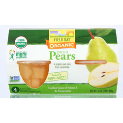 Field Day Fruit Cups - Organic - Pears - 4-4 Oz - Case Of 6