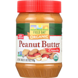Field Day Peanut Butter - Organic - Crunchy - Salted - 18 Oz - Case Of 12