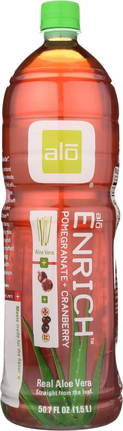 Alo Original Enrich Aloe Vera Juice Drink - Pomegranate And Cranberry - Case Of 6 - 50.7 Fl Oz.