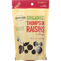 Woodstock Fruit - Organic - Raisins - Thompson - 13 Oz - Case Of 8