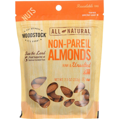 Woodstock Nuts - All Natural - Almonds - Non-pareil - Raw - Unsalted - 7.5 Oz - Case Of 8