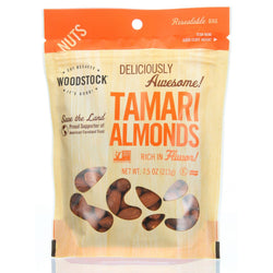 Woodstock Nuts - All Natural - Almonds - Tamari - 7.5 Oz - Case Of 8