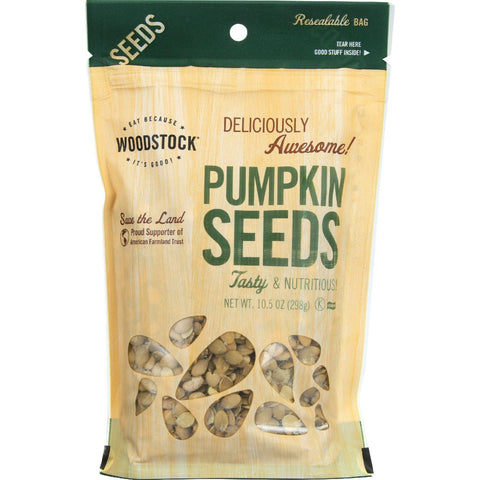 Woodstock Seeds - All Natural - Pumpkin - Pepitas - Shelled - Raw - 10.5 Oz - Case Of 8