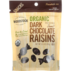 Woodstock Snacks - Organic - Dark Chocolate Raisins - 8.5 Oz - Case Of 8