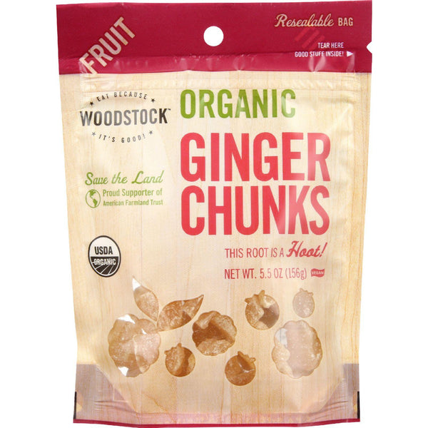 Woodstock Fruit - Organic - Ginger - Chunks - Crystallized - 5.5 Oz - Case Of 8
